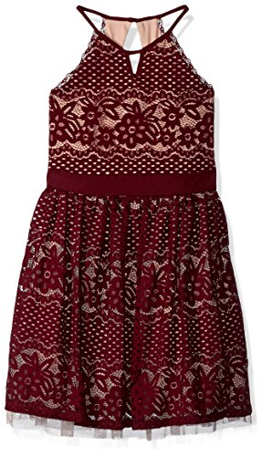 My Michelle Big Girls' Special Occasion Dress in Lace, Merlot, 10