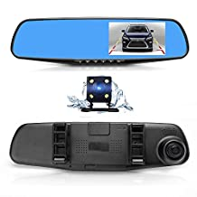 Dual Lens Car Camera, Oxygentle Rear View Reverse Mirror Backup Camera, 1080P Full HD Dash Cam Car Recorder DVR with 4.3 Inch Screen, 170-degree Wide Angle Lens with G-Senor for Driving Recording