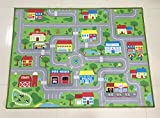 City Street Map Kids' Rug With Roads Kids Rug play mat with School Hospital Station Bank Hotel Book Store Government Workshop Farm for Boy Girl Nursery Bedroom Playroom Classrooms (39'' X 51'')