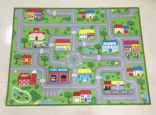 City Street Map Kids' Rug With Roads Kids Rug play mat with School Hospital Station Bank Hotel Book Store Government Workshop Farm for Boy Girl Nursery Bedroom Playroom Classrooms (39'' X 51'') by HUAHOO