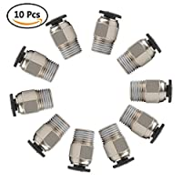 YOTINO PC4-M10 Male Straight Pneumatic PTFE Tube Push In Quick Fitting Connector for E3D-V6 Long-Distance Bowden Extruder 3D Printer (Pack of 10pcs)