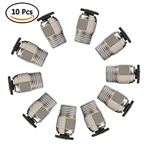 YOTINO PC4-M10 Male Straight Pneumatic PTFE Tube Push In Quick Fitting Connector for E3D-V6 Long-Distance Bowden Extruder 3D Printer (Pack of 10pcs) by YOTINO