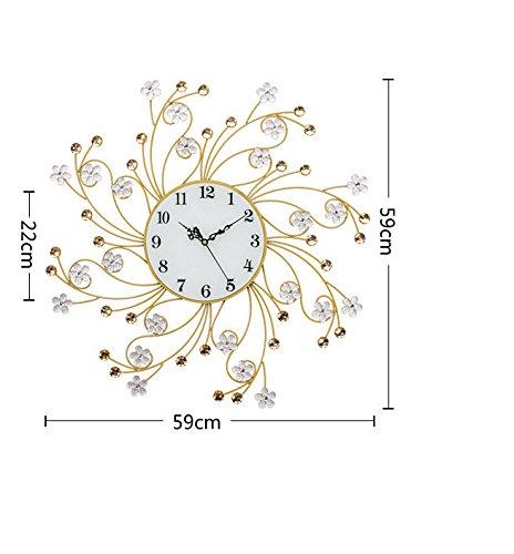 RFVBNM Classic european style minimalist wall chart mute silver flower crystal drill irrepressible modern living room bedroom creative iron wall clock 5959cm5959cm