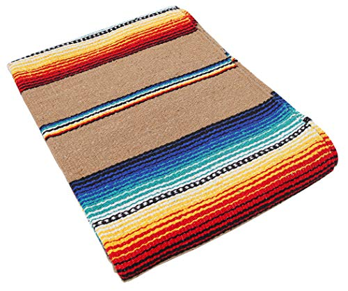 "El Paso Designs Serape falsa Blanket- 57""x74"" Classic Mexican Serape Pattern in Vivid Color- Hand Woven Acrylic Falsa Blanket. (Tan)"