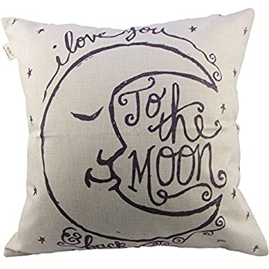 Generic I Love You to the Moon and Back Cotton Throw Pillow Case Vintage Cushion Cover, 18   x 18