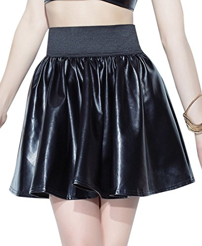 Coquette D9303 Women's Pleather Wet Look Circle Skirt - Medium - Black
