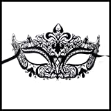 Luxury Mask Women's Laser Cut Metal Venetian Crown Mask , Black/Clear Stones, One Size