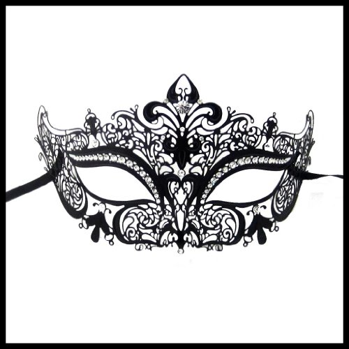 [Luxury Mask Women's Laser Cut Metal Venetian Crown Mask , Black/Clear Stones, One Size] (Masquerade Masks Metal)