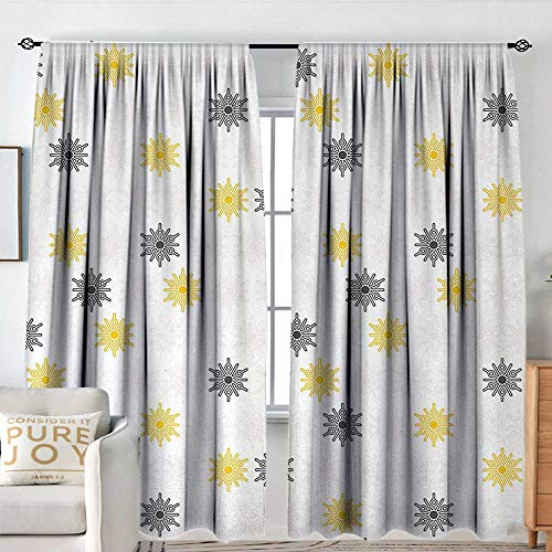 NUOMANAN Window Blackout Curtains Grey and Yellow,Moroccan Style Modern Sun Beam Flowers with Rounds Dots Image,Black and Light Grey,for Room Darkening Panels for Living Room, Bedroom 72