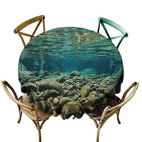 River Accents Pebble - ScottDecor Round Tablecloth River,Underwater View Pebble Rock D54,for Accent Table
