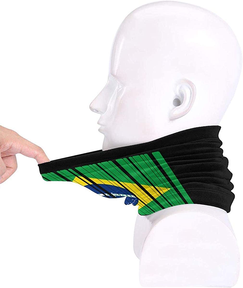 Brazil Flag Barcode Microfiber Neck Warmer Balaclavas Soft Fleece Headwear Face Scarf Mask for Winter