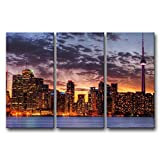 3 Pieces Wall Art Painting Toronto Skyline In Sunset Prints On Canvas The Picture City Pictures Oil For Home Modern Decoration Print Decor For Furniture