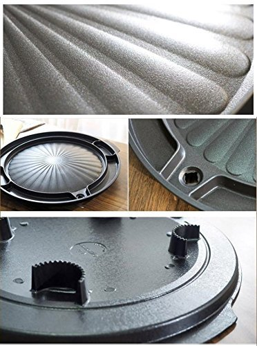 """Queensense Korean BBQ Stove Grill Pan Samgyupsal Barbeque Large Grill 16/"""" x 14/"""""""