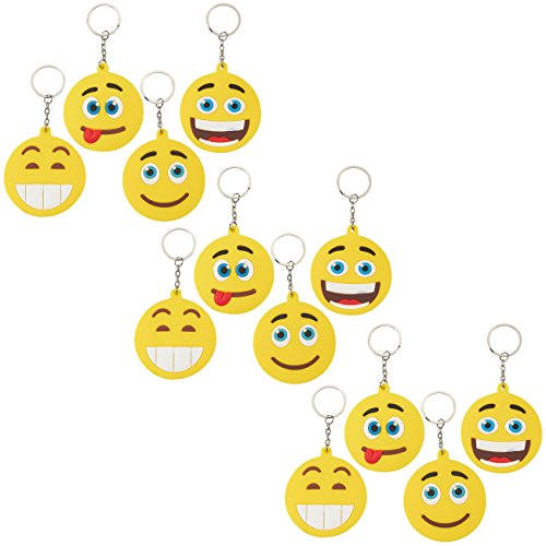 Emoji Keychains - 12-Pack Emoji Keychain Favors, Cute Keychains for Kids, Emoji Party Favors for Birthdays, Pinata Stuffers, Party Goodie Bags, 4 Designs, 3 Pieces Each, 4.5 x 2.5 inches