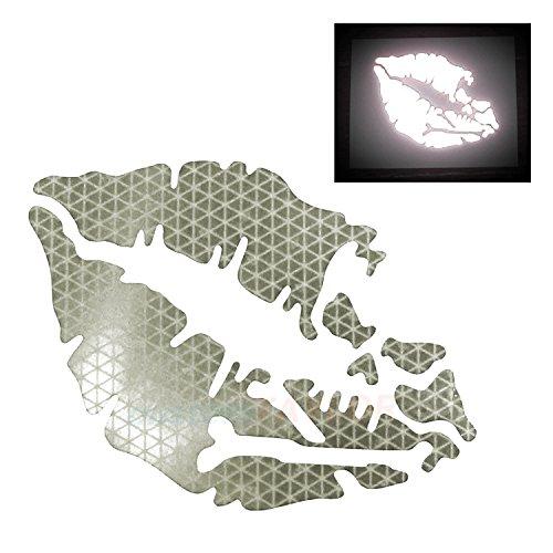 - customTAYLOR33 High Intensity Reflective Vinyl Death Kiss Skull Crossbones Lips Decal Bumper Sticker - Cars, Motorcycles, Helmets, Wind Screens, laptops, cellphones, (White, 6 inch Wide)