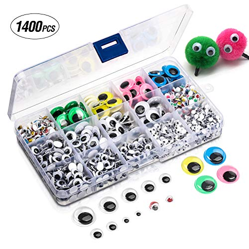 1400 Pcs Self Adhesive Wiggle Googly Eyes,Assorted Sizes for Decorations