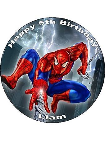 Spiderman Personalisierter 7 5 Reispapier Kuchen Topper 19 1 Cm 7