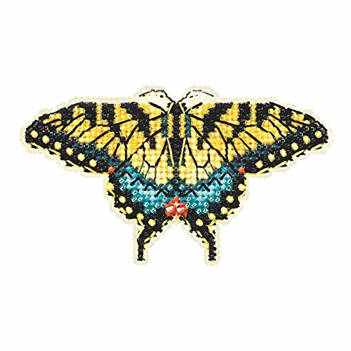 Yellow Swallowtail Butterfly Beaded Counted Cross Stitch Kit Mill Hill 2015 Spring Bouquet (Beaded Butterflies Kit)