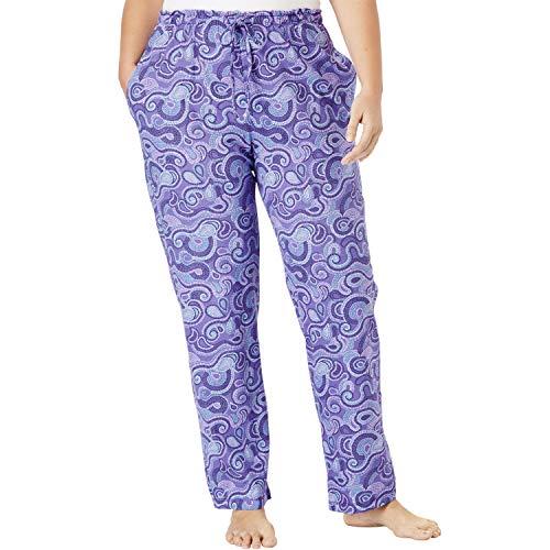(Dreams & Co. Women's Plus Size Knit Sleep Pant - Petal Purple Swirls, 1X)