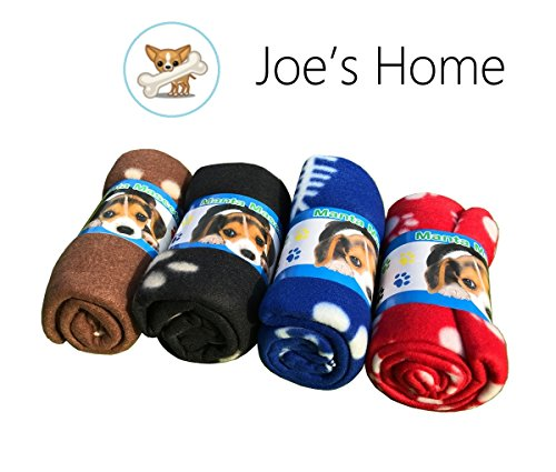 (Pet Puppy Dog Blanket for Small Medium Large Dogs, 4 Pack - Red Blue Black Brown, Warm Soft Cozy Cat Dog Blankets and Throws Winter Pet Sleep Mat Pad Bed Cover with Paw Print (L - 32.3'' x 43.3''))