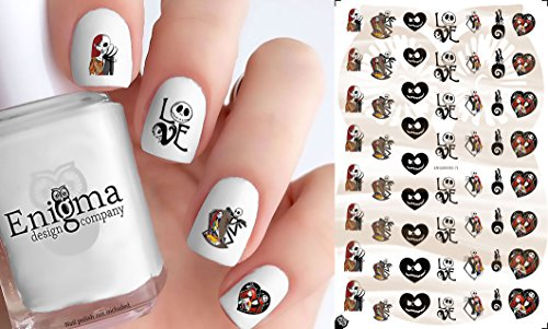 The Nightmare before Christmas Jack & Sally Nail Decals (Clear Vinyl, Peel & Stick) -
