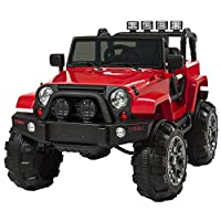 Best Choice Products 12V Powered Ride On Car Truck Remote Control, 3 Speeds, Spring Suspension, LED Lights, Red