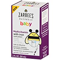 Zarbee's Naturals Baby Multivitamin with Iron, Vitamins A, C, D, Natural Grap...