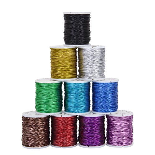ROSENICE Strings Ropes Cords 10 Colors 10M 0.5mm for DIY Necklace Bracelet Craft Making Crystal Shamballa String Bracelet