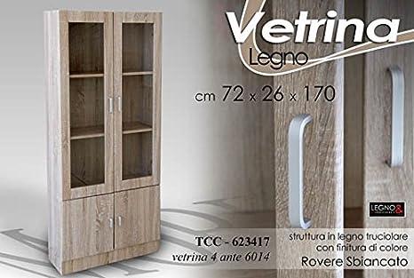 Gicos VETRINA MODERNA IN LEGNO ROVERE 4 ANTE 72X26X170: Amazon.it ...