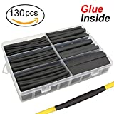 Kyпить 130 pcs 3:1 Dual Wall Adhesive Heat Shrink Tubing kit, 6 Sizes(DIA): 1/2, 3/8, 1/4, 3/16, 1/8, 3/32, Best Cable Sleeve Tube Assortment with Storage Case for DIY by MILAPEAK (Black) на Amazon.com