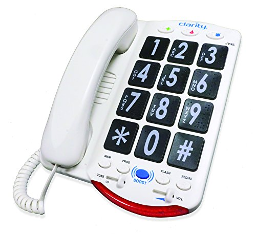 Ameriphone JV35 Phone with 37-dB Amplification, Braille Characters and Talk Back (White) ()