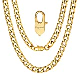 Engraved Name Chain Mens Gold Necklace Curb Cuban Link Engraved Name Chain Jewerly Birthday Gift
