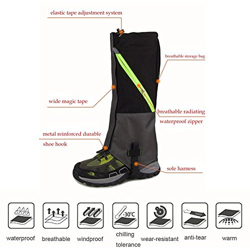 KepooMan 1 Par Unisex Polainas Impermeables al Aire Libre y Leggings Polainas Prueba de Viento Guardia de Protección para Las Piernas Escalada, Excursionismo o Senderismo,Azul Negro