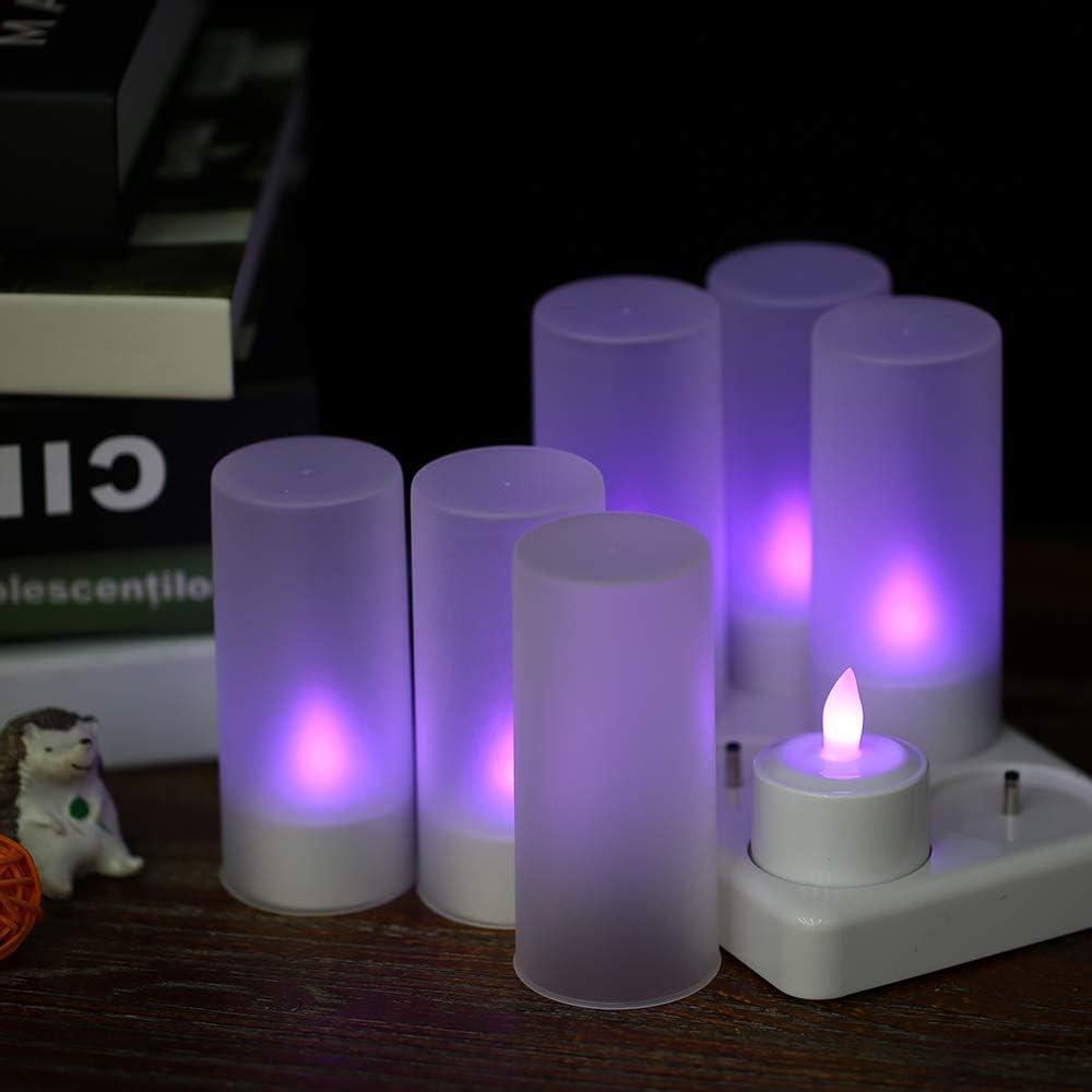 Bedler Set di 6 Ricaricabili LED Che cambiano Colore sfarfallio Senza Fiamma Candele tealight luci con Telecomando USB 5V Tazze glassate Base di Ricarica per la Festa di Natale Candele a LED