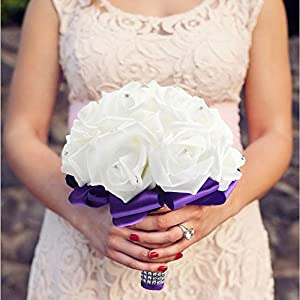 StillCool Wedding Bouquets Crystal Pearl Silk Roses Bridal Bridesmaid Wedding Hand Bouquet Artificial Fake Flowers (18cm24cm, Mint-Green) 3