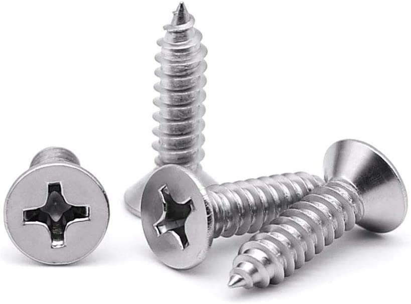 AISI 304 Stainless Steel 225 pcs Oval Phillips Drive Self-Tapping Sheet Metal Screws 18-8 #10 X 1 TypeA