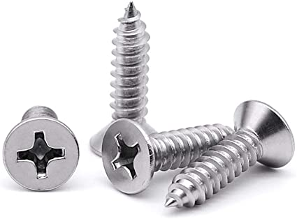 #8 X 1//2 600 pcs Flat Phillips Drive AISI 304 Stainless Steel Self-Tapping Sheet Metal Screws TypeA 18-8
