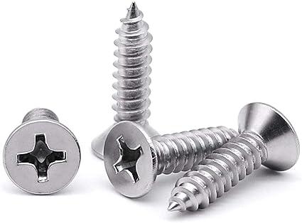 TypeA 200 pcs AISI 316 Stainless Steel Self-Tapping Sheet Metal Screws #10 X 1//2 Pan Phillips Drive