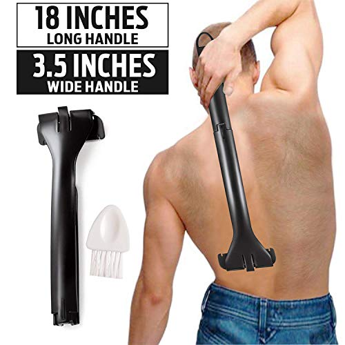- Back Shaver for Men - Premium Men's Professional Razor DIY Back Hair Remover- Pain-Free, Wide Blade Design, Wet and Dry Use, Extra-Long Handle Body Shave (free cleaning brush)