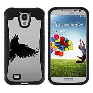 Suave TPU Caso Carcasa de Caucho Funda para Samsung Galaxy S4 I9500 / raven death deep writing nature bird / STRONG