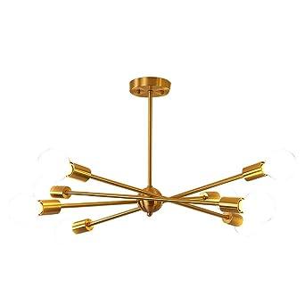 Lámpara latón Sputnik de moderna luces Araña 8 colgante shrtdCQ