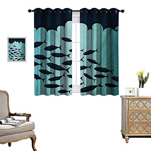 Fish Blackout Window Curtain Surreal Ornate Swirl Waves and Group of Fish with Nautical Under The Sea Theme Customized Curtains W63 x L45 Blue Turquoise -