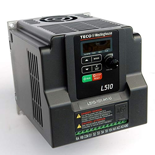 Teco Variable Frequency Drive, 1 HP, 115 Volts 1 Phase Input, 230 Volts 3 Phase Output, L510-101-H1, VFD Inverter for AC motor control (1ph Ac Motor)
