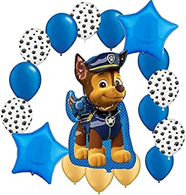 """17 Piece Jumbo Shaped CHASE 41\"""" high! Paw Patrol Mylar and Latex Balloons Bouquet"""