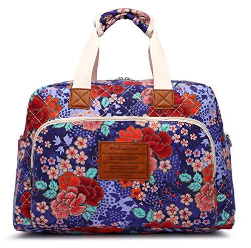 Malirona Canvas Overnight Bag Women Weekender Bag Carry On Travel Duffel Bag Floral (Cherry Flower)