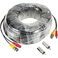 KKmoon 98ft Video Power Security Camera Extension Cable Wire for CCTV DVR CCD Security Cameras Surveillance System with BNC to RCA Adaptor