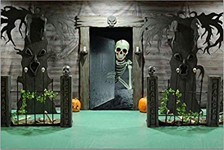 2x Ghostly Door Covers Fits on your doors for great HALLOWEEN DOOR SCENE SETTERS! Skeleton on the Toilet /& Mouldy Spooky Fridge