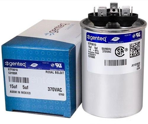 York 2 5 uF MFD x 370 VAC GE Industrial Replacement Dual Capacitors Round # C3155R//97F9810 15 Pack