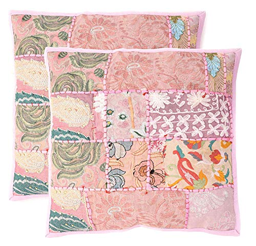 Aheli Set of 2 Pink Cushion Covers for Throw Pillows Decorative Embroidery Sequins Patchwork Square Home Sofa Bedding Decor