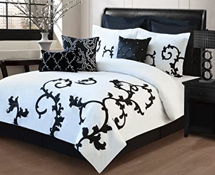Amazoncom 9 Piece Cal King Duchess Black And White Comforter Set